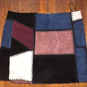 Willow and Clay suede patchwork skirt